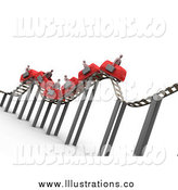 Royalty Free Stock Illustration of a 3d Bumpy Red Roller Coaster Transporting Businessmen with Briefcases by 3poD