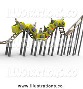 Royalty Free Stock Illustration of a 3d Bumpy Yellow Roller Coaster Transporting Gray Businessmen with Briefcases by 3poD