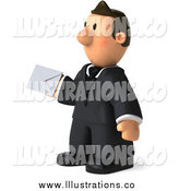 Royalty Free Stock Illustration of a 3d Business Man Facing Left and Holding an Envelope by Julos