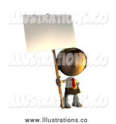 Royalty Free Stock Illustration of a 3d Business Man Holding a Sign Placard on a Pole by AtStockIllustration