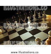 Royalty Free Stock Illustration of a 3d Chess Game, a White Pawn Forward by Mopic