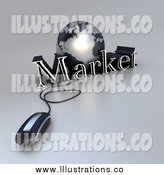 Royalty Free Stock Illustration of a 3d Computer Mouse Connected to a Silver Globe and the Word Market by Frank Boston