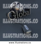 Royalty Free Stock Illustration of a 3d Computer Mouse Wired to a Blue Earth and the Word Global by Frank Boston