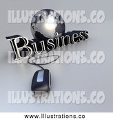 Royalty Free Stock Illustration of a 3d Computer Mouse Wired to a Globe and the Word Business by Frank Boston