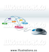 Royalty Free Stock Illustration of a 3d Computer Mouse Wired to a Network by MilsiArt
