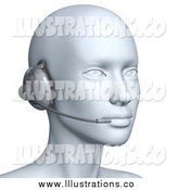 Royalty Free Stock Illustration of a 3d Customer Service Head Wearing a Headset by Julos