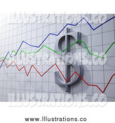 Royalty Free Stock Illustration of a 3d Dollar Symbol on a Graph with Green, Blue and Red Varying Lines by Mopic