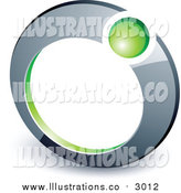 Royalty Free Stock Illustration of a 3d Green Ball in a Chrome Ring by Beboy