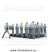 Royalty Free Stock Illustration of a 3d Martial Arts Business Team by 3poD