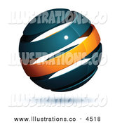 October 11th, 2015: Royalty Free Stock Illustration of a 3d Navy Blue and Orange Globe by Beboy