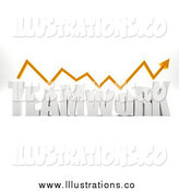 Royalty Free Stock Illustration of a 3D Orange Arrow over TEAMWORK by
