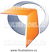 Royalty Free Stock Illustration of a 3d Orange Boomerang Arrow over a Chrome Circle by Beboy
