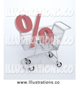 Royalty Free Stock Illustration of a 3d Percent Symbol in a Shopping Cart by Mopic