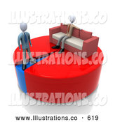 Royalty Free Stock Illustration of a 3d Pie Chart While Another Businessman Stands on a Small Blue Portion of the Chart by 3poD