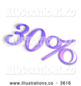 Royalty Free Stock Illustration of a 3d Purple 30 Percent off or Interest Sign by MacX