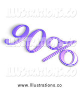 Royalty Free Stock Illustration of a 3d Purple 90 Percent off or Interest Sign by MacX