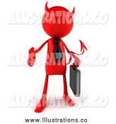 January 16th, 2015: Royalty Free Stock Illustration of a 3d Red Devil Businessman Holding out a Hand by Julos