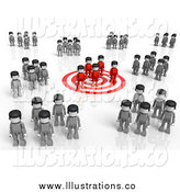 Royalty Free Stock Illustration of a 3d Red Group Standing on a Target, Surrounded by Gray Groups by Tonis Pan