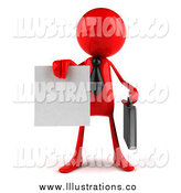 Royalty Free Stock Illustration of a 3d Red Man Holding out a Contract by Julos