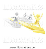 Royalty Free Stock Illustration of a 3d Silver People Racing Against a Winning Gold Man on Arrows by AtStockIllustration