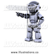 Royalty Free Stock Illustration of a 3d Silver Robot Pointing by a Sign by KJ Pargeter