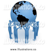 Royalty Free Stock Illustration of a 3d Team of Blue People Forming a Circle Around Earth and Holding It up High by 3poD