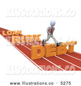 Royalty Free Stock Illustration of a 3d White Business Man Leaping Loan, Risk and Debt Hurdles on a Track by 3poD
