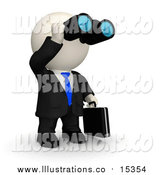 Royalty Free Stock Illustration of a 3d White Business Man Viewing Through Binoculars by Andresr