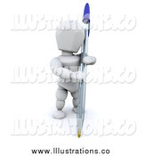 Royalty Free Stock Illustration of a 3d White Man Holding a Pen by KJ Pargeter