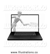 Royalty Free Stock Illustration of a 3d White Mannequin Emerging from a Laptop Computer Screen with an Envelope by KJ Pargeter