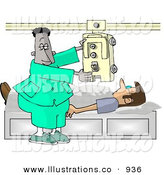Royalty Free Stock Illustration of a African American Doctor Man Taking an X-ray of His Patients Chest by Djart