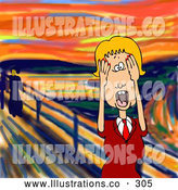 Royalty Free Stock Illustration of a Alarmed Stressed out Blond Caucasian Business Woman Holding Her Hands to Her Cheeks While Screaming, a Humorous Parody of the Scream by Edvard Munch by Djart
