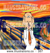 Royalty Free Stock Illustration of a Alarmed Stressed out Caucasian Business Man Holding His Hands to His Cheeks While Screaming, a Humorous Parody of the Scream by Edvard Munch by Djart