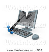 November 11th, 2013: Royalty Free Stock Illustration of a Angry Frustrated Blue Person Smashing a Flat Screen Computer Monitor with a Hammer by 3poD