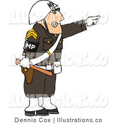 Royalty Free Stock Illustration of a Angry Male Military Police Officer Directing People to Move by Pointing His Finger off to the Side by Djart