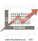 November 7th, 2013: Royalty Free Stock Illustration of a Ascending Orange-Red Arrow Going up over a Graph, Symbolizing Increasing Stocks by Andy Nortnik