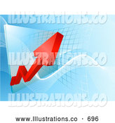 Royalty Free Stock Illustration of a Ascending Red Arrow Showing an Increase of Profit on a Graph by AtStockIllustration