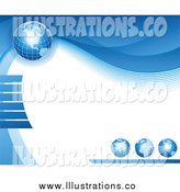 Royalty Free Stock Illustration of a Background of Blue Grid Globes with Waves Around White Text Space by Elena