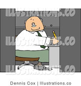 Royalty Free Stock Illustration of a Bald Businessman Working in a Small Office Cubicle by Djart