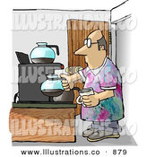 Royalty Free Stock Illustration of a Balding Male Worker Getting a Cup of Coffee During His Break on Casual Friday by Djart