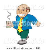 Royalty Free Stock Illustration of a Balding Professional Boss Man in Mismatched Clothing Carrying a Cup of Coffee by AtStockIllustration
