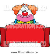 Royalty Free Stock Illustration of a Banner and Happy Circus Clown by Cory Thoman