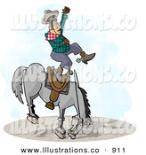 Royalty Free Stock Illustration of a Bareback Bronco Riding at a County Rodeo Competition by Djart