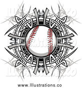 Royalty Free Stock Illustration of a Baseball over a Tribal Circle by Chromaco