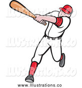 Royalty Free Stock Illustration of a Batting Cartoon White Male Baseball Player by Patrimonio