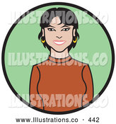 November 7th, 2013: Royalty Free Stock Illustration of a Beautiful Friendly Business Woman with Hoop Earrings, Wearing an Orange Sweater by Andy Nortnik