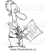 Royalty Free Stock Illustration of a Black and White Businessman Examining Blueprints by Toonaday
