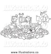 Royalty Free Stock Illustration of a Black and White Businessman Shoveling Through His Office Clutter by Toonaday