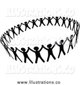 Royalty Free Stock Illustration of a Black and White Circle of People Unified by Vector Tradition SM
