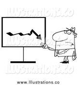 Royalty Free Stock Illustration of a Black and White Grumpy Boss Pointing to a Decrease Board by Hit Toon